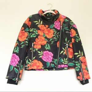 Express - Black Floral Printed Puffer Jacket